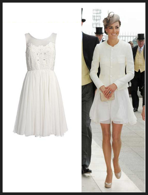 Kate, supposedly wearing this Reiss peacock dress under the white jacket, at the Epsom Derby